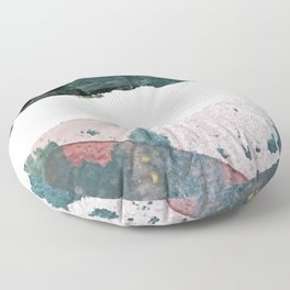 Between Us: a minimal, abstract mixed-media piece in blues, muted purple, and pinks Floor Pillow