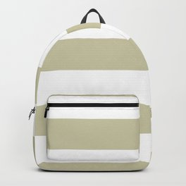 Natural Olive Green - Martinique Dawn - Asian Silk Hand Drawn Fat Horizontal Lines on White Backpack