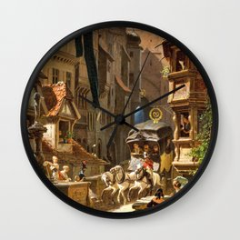 The Arrival Of The Stagecoach - Carl Spitzweg Wall Clock