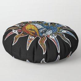 Celestial Mosaic Sun and Moon Floor Pillow