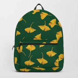 Golden Gingko Leaves on Green  Backpack