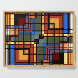Colorful CUBES abstract Serving Tray