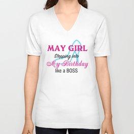 May Girl Birthday Unisex V-Neck