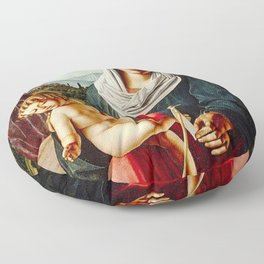 Michele da Verona - Madonna and Child with the Infant Saint John the Baptist - Renaissance Floor Pillow