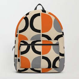 Mid Century Modern Half Circle Pattern 548 Beige Black Gray and Orange Backpack