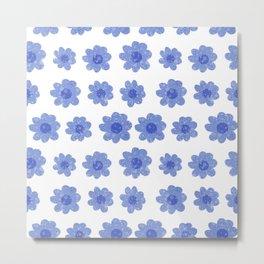 Modern hand drawn blue daisy flowers Metal Print