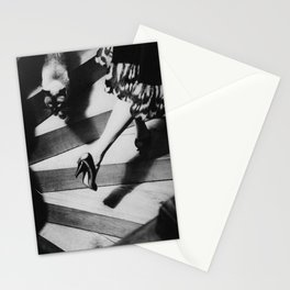 Friends on the Stairs, Siamese cat and woman passing in the night black and white photograph Stationery Cards