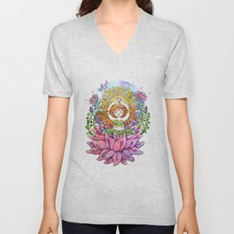 Yoga Flower Girl Unisex V-Neck
