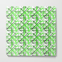 Intersecting light green lines with a black diagonal on a white background. Metal Print