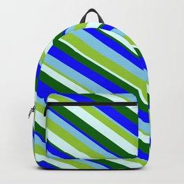 Eye-catching Green, Light Cyan, Dark Green, Blue & Sky Blue Colored Lines/Stripes Pattern Backpack