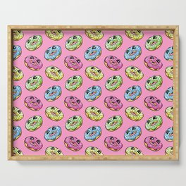 Donut Fun! Frosted Donuts Cartoon Pattern Serving Tray