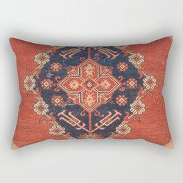 Southwest Tuscan Shapes II // 18th Century Aged Dark Blue Redish Yellow Colorful Ornate Rug Pattern Rectangular Pillow