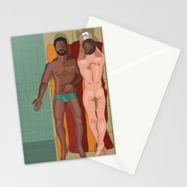 Two men laying by the pool Stationery Cards