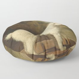 George Stubbs - White Poodle in a Punt Floor Pillow
