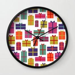 Colorful Christmas presents Wall Clock