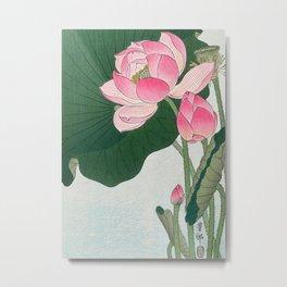 Blossoming lotus flower - Vintage Japanese Woodblock Print Art Metal Print