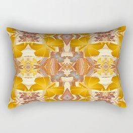 Vintage Golden Autumn Fall Floral Psychedelic Retro Print Rectangular Pillow