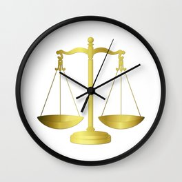 Gold Scales of Justice Lawyers Hotline Wall Clock