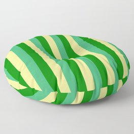 Tan, Sea Green & Green Colored Lines Pattern Floor Pillow