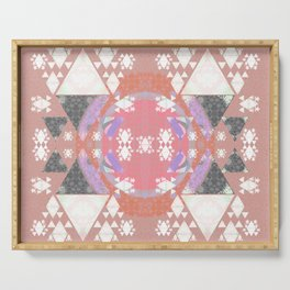 Cosmic Romance Sacred Geometry Abstract Quilt Print Serving Tray