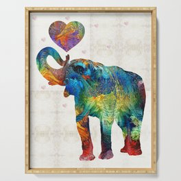 Colorful Elephant Art - Elovephant - By Sharon Cummings Serving Tray