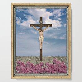 Jesus on the Cross Illustration Serving Tray