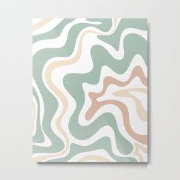 Liquid Swirl Abstract Pattern in Celadon Sage Metal Print