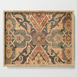 Geometric Leaves III // 18th Century Distressed Red Blue Green Colorful Ornate Accent Rug Pattern Serving Tray