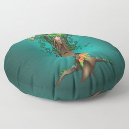 Mystical Maiden Tree With White Owl Floor Pillow
