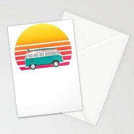 Paia Hawaii Retro Sunset Surfing Hippie Van Art Travel Stationery Cards