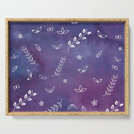 Purple Violet Watercolor Floral Cute Illustration Art Serving Tray