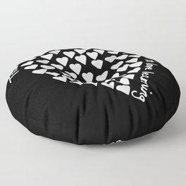 Hearts Heart Teacher White on Black Floor Pillow