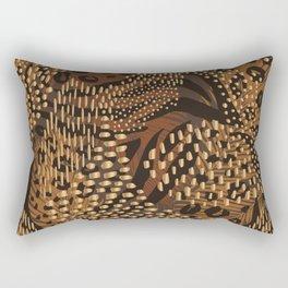 Abstract Tribal Floral Gold Rectangular Pillow