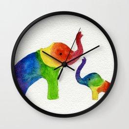 Little Rainbow Elephants Wall Clock
