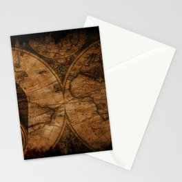 Rustic Old World Map and Compass Stationery Cards