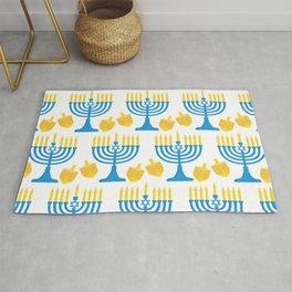 Hanukkah Bright Candles Menorah and Chic Dreidel Pattern Rug