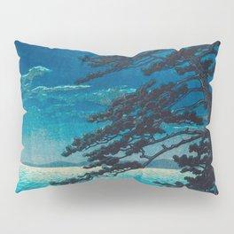 Vintage Japanese Woodblock Print Moonlight Over Ocean Japanese Landscape Tall Tree Silhouette Pillow Sham