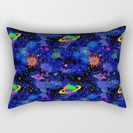 Neon Saturn Pattern Rectangular Pillow