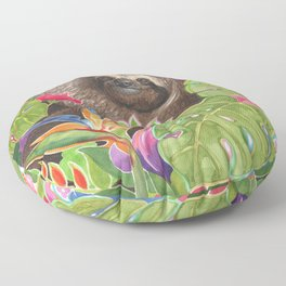 Sloth among exotic flowers Floor Pillow