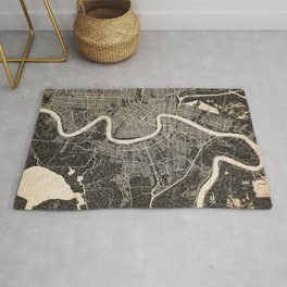 NEW ORLEANS map Louisiana Ink lines Rug