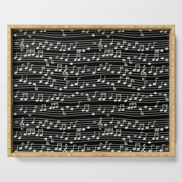 The Mary Collection - musical notes too (white on black) Serving Tray