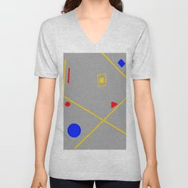 Primary colors Geometric work Abstract Composition Yellow grey red blue and white 4 Unisex V-Neck