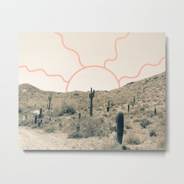 Wonder Rift // Abstract Vintage Mountains Summer Sun Surfer Beach Vibes Drawing Happy Wall Decor Metal Print