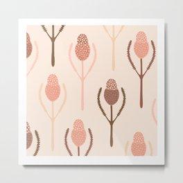 Banksia Pattern Print Australiana Native Flora Metal Print