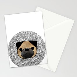 Furry Pug Dog Stationery Cards