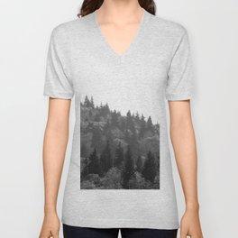 Black and White Mountainside Unisex V-Neck