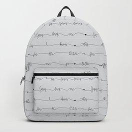 Jesus Loves Me - grey handwritten lyrics Backpack