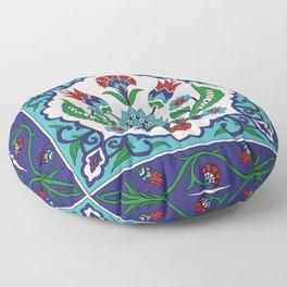 Turkish Tile Pattern – Vintage iznik ceramic with tulips Floor Pillow