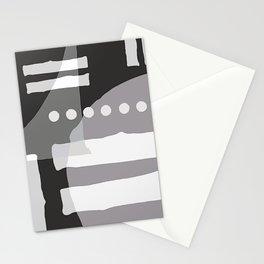 Mid-Century Modern Minimalist Gray, Black & White Geometric Pattern Stationery Cards