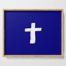 Christian Cross Chalk version Serving Tray